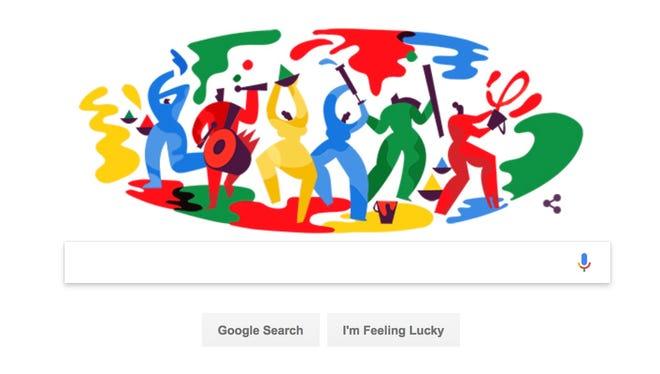 A Google Doodle honoring the Hindu spring festival Holi.