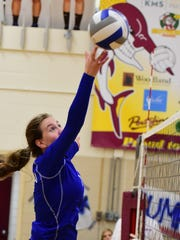 Ladywood's Madison Benoit tips the ball over the net