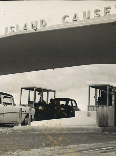 The toll booths at the Padre Island Causeway in May 1959. The road was renamed John F. Kennedy Memorial Causeway following the president's assasination.