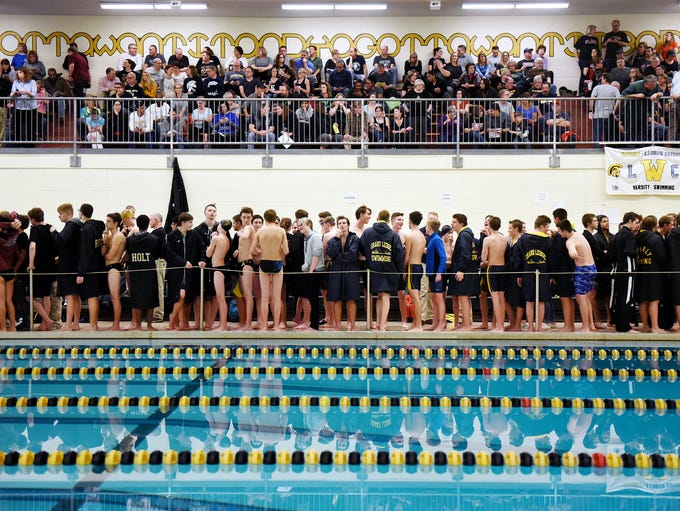 Swimmers prepare for the start of the Waverly Relays