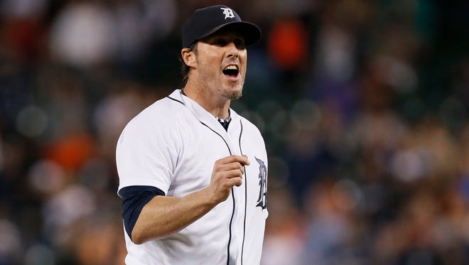 Detroit Tigers closer Joe Nathan celebrates the final out against the Minnesota Twins on Sept. 25, 2014.