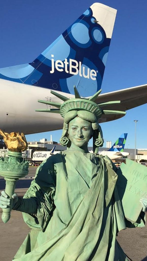A Statue of Liberty character helps kick off JetBlue's