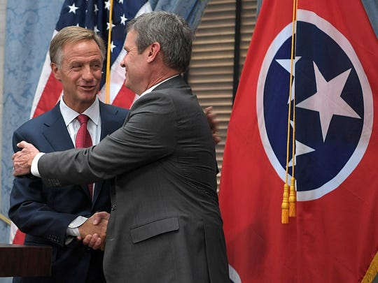 Governor-elect Bill Lee, right, and Governor Bill Haslam