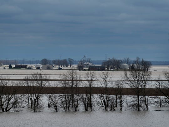 Evansville's Dogtown area is covered in water from