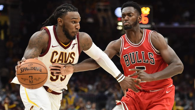 Cleveland Cavaliers forward Jae Crowder (99) drives to the basket against Chicago Bulls forward Bobby Portis (5) during the second half at Quicken Loans Arena.