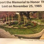 Memorial concept to honor 1985 crash victims.