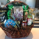 A Karlynn Jones gift basket is loaded with goodies.