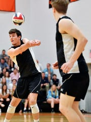 Central York's Cole Johnson bumps the ball against Northeastern in the first set of a YAIAA boys' volleyball match Thursday, May 10, 2018, at Northeastern. Northeastern defeated Central 3-2 (20-25, 21-25, 25-16, 25-14, 15-7) to win the regular-season YAIAA title.