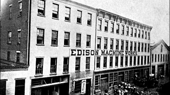"""Edison Machine Works at 104 Goerck Street, New York City (""""Edisonia, A Brief History of the early Edison Electric Lighting System"""" by the Association of Edison Illuminating Companies, published in 1904; page 162)"""