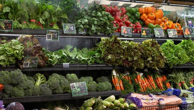 Produce aisle in supermarket.