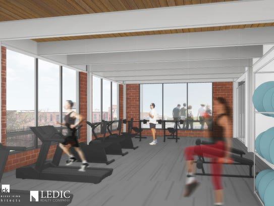 Artist's rendering of a workout facility at the lofts.
