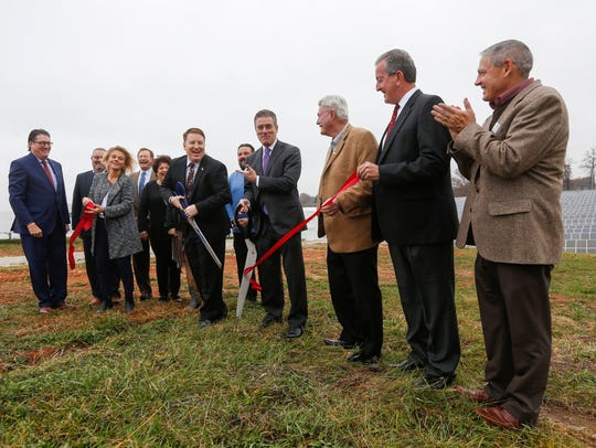 Officials involved with the Nixa Solar Energy Farm
