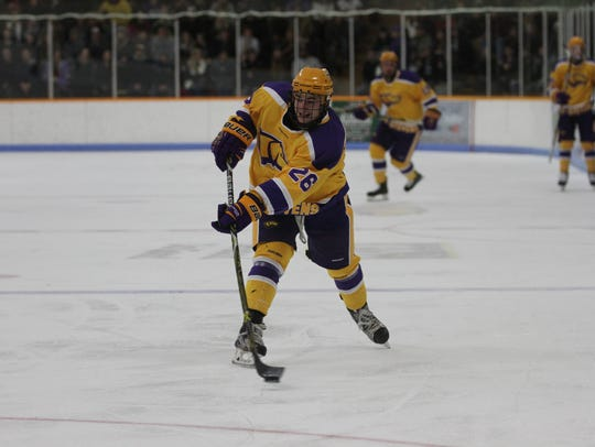 Sophomore Luke McElhenie is one of 10 newcomers for the UW-Stevens Point men's hockey team this season. He ranks third on the team in scoring with 24 points, including 14 goals.