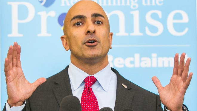 Republican gubernatorial candidate Neel Kashkari holds a media availability to respond to Gov. Jerry Brown's address to the American Federation of Teachers AFT, at the Los Angeles Convention Center in Los Angeles Friday, June 11, 2014.(AP Photo/Damian Dovarganes) ORG XMIT: CADD101