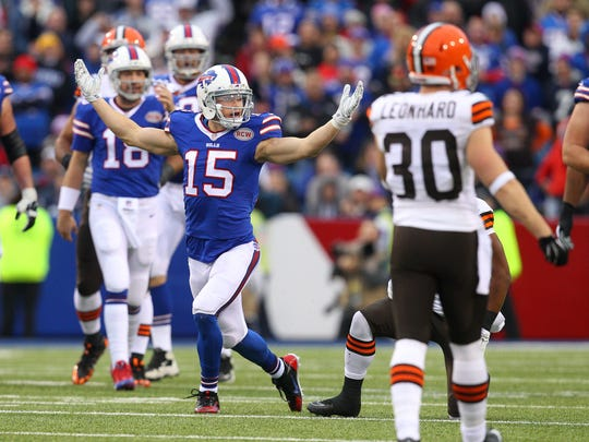 Bills receiver Chris Hogan (15) looks for a flag on this pass play against the Browns during the 2014 season.
