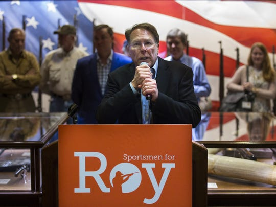National Rifle Association Executive Vice President Wayne LaPierre endorses U.S. Sen. Roy Blunt during a campaign stop at the NRA National Sporting Arms Museum in Springfield, Mo., Aug. 11.