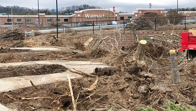 The management company of the Hendersonville Road shopping center anchored by Walmart is removing its older trees. New trees will be planted in the spring.