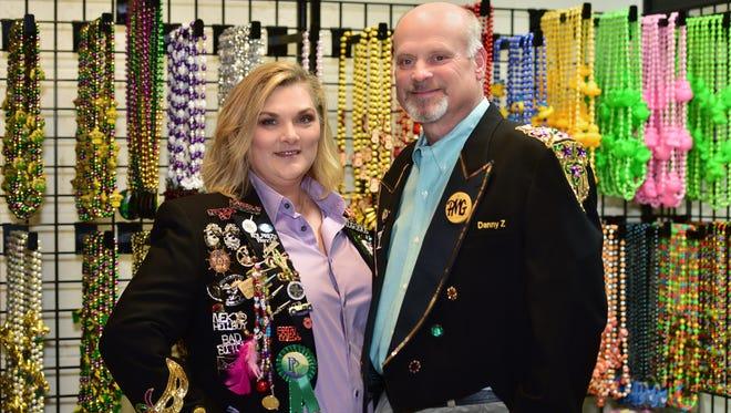 Danny Zimmern and Amy Newman run the Pensacola Mardi Gras organization.