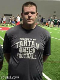 Blaine Scott of Sciotoville East High School in Portsmouth, Ohio is 6 feet 5 and 300 pounds.
