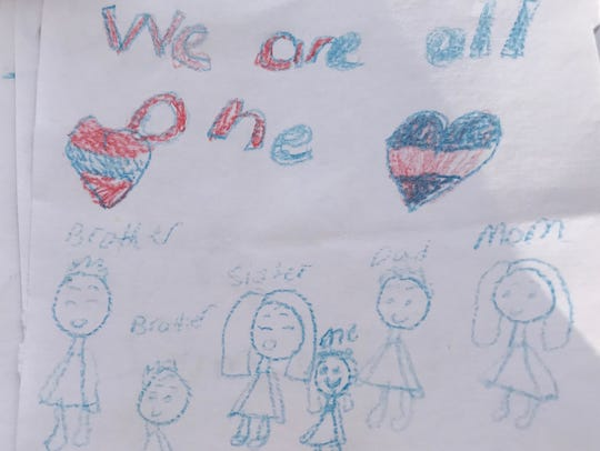 One of the cards made by children of families affected