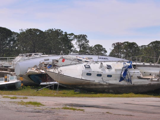 Derelict boats already removed from the water are in
