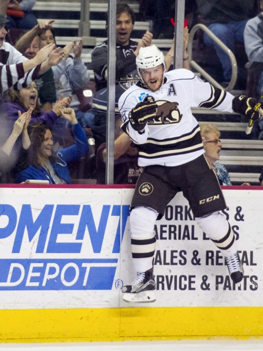 Garrett Mitchell celebrates his shorthanded goal in Game 5 of the Eastern Conference semifinals against the Hartford Wolf Pack at Giant Center on Wednesday, May 13.