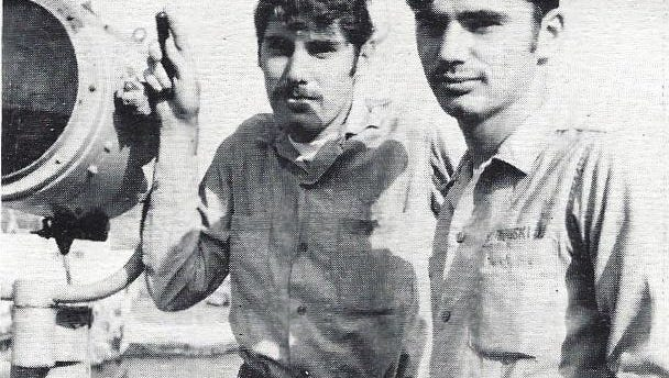 Brothers Joseph Rutkowski of Pine Hill (left) and Anthony of Gloucester Township aboard the USS Severen when they served together in 1970-71. They are attending a reunion this week in Runnemede with other crewmen who served fon teh ship rom World  War II through 1974 .