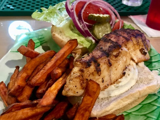 A grouper sandwich from Rusty's Raw Bar in Cape Coral.
