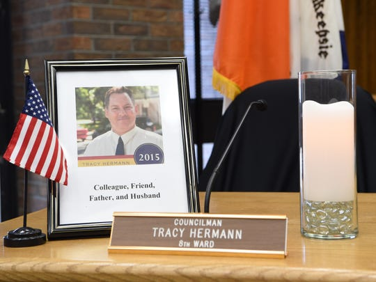 A memorial set up in the Common Council Chambers in City Hall for Councilman Tracy Hermann, who died March 3.