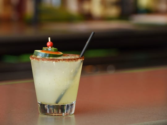 A spicy cucumber margarita at Baja 328 Tequila Bar