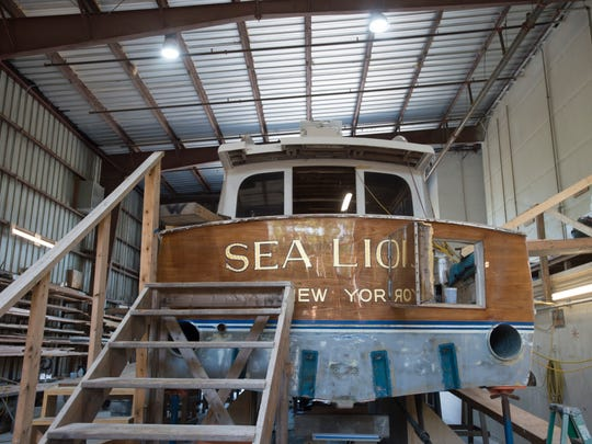 In 1962, Whiticar Boat Works built the Sea Lion II, a 54-foot sportfishing boat whose notable guests included President Richard Nixon and musicians Bing Crosby and Roger Daltrey. Destroyed in Hurricane Irma, the boat (pictured) was being rebuilt at Willis Marine in Stuart on Wednesday, April 18, 2018.