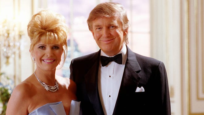 In this 1995 file photo, Donald and Ivana Trump were filming a Pizza Hut commercial.