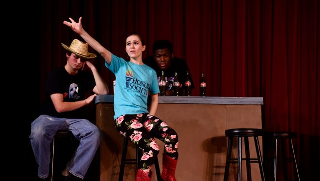 Rachel Hofacker sings during a rehearsal for the stage musical Footloose. Show dates for this production are March 24 and 25 at 7:00 p.m. and March 26 at 2:30 p.m.