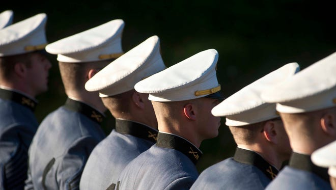 The Norwich University corps of cadets in formation during Veterans Day observances in Northfield on Tuesday, November 11, 2014.