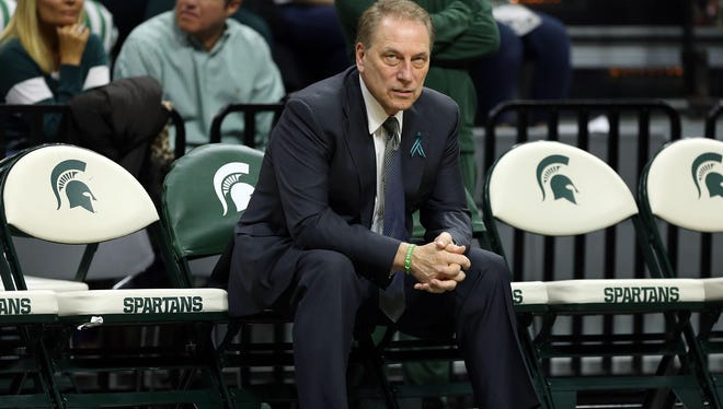 Michigan State Spartans head coach Tom Izzo sits on the bench prior to a game between the Michigan State Spartans and the Penn State Nittany Lions at the Jack Breslin Student Events Center.