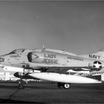 "An A-4 Skyhawk painted with ""Lady Jessie,"" by members of squadron VA-164."