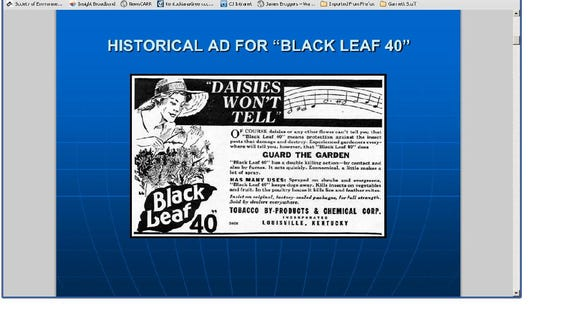 Former ad for  Black Leaf pesticide made in Louisville from tobacco plants.