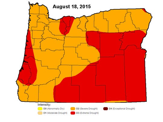 Drought conditions as reported last week.