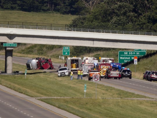 According to the West Des Moines Fire Department a tanker truck carrying gasoline and diesel fuel rolled and crashed on highway 5 spilling diesel fuel and closing the highway Friday, June 17, 2016.