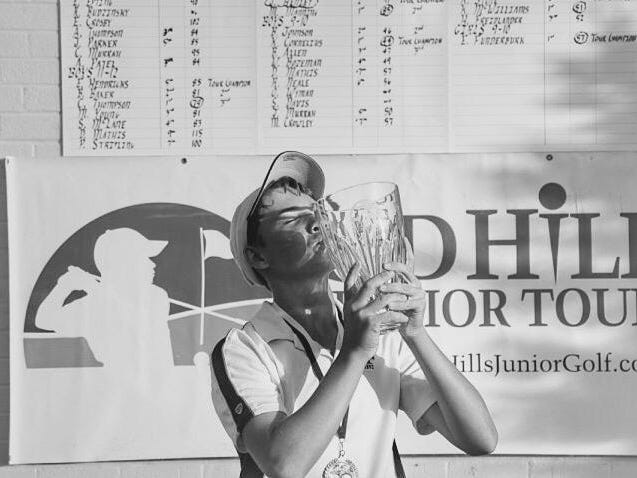 Former Florida High golfer Henry Westmoreland, the 2012 All-Big Bend Golfer of the Year celebrates a win at the Red Hills Junior Tournament. Westmoreland is now a sophomore at the University of West Florida.