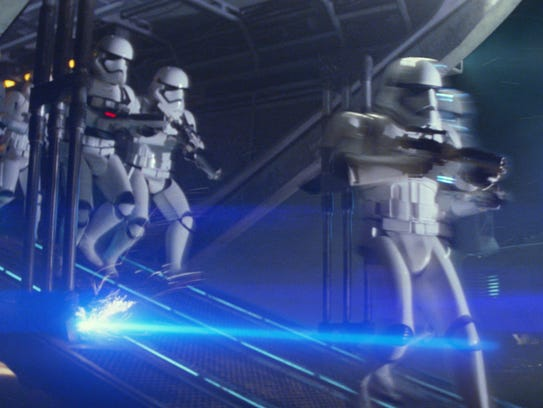 First Order Troopers in a scene from the motion picture