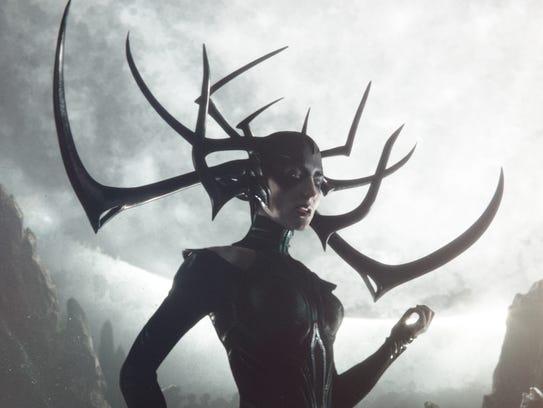 "Cate Blanchett in a scene from ""Thor: Ragnarok."""