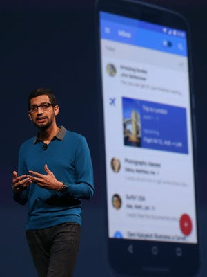 Google senior vice president of product Sundar Pichai delivers the keynote address during the 2015 Google I/O conference on May 28, 2015 in San Francisco, Calif.