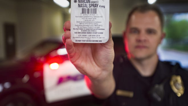 Sergeant Brandon Johnson with the Loveland Police Department carries two doses of Narcan to reverse possible opioid overdoses.