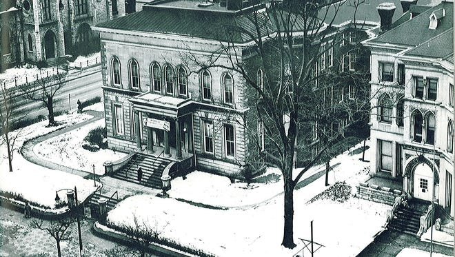 The J. C. Ford Mansion, shown in an undated photo, was built in the late 1850s at the southwest corner of  Second Street and Broadway downtown.  It was replaced with a savings and loan association office building.