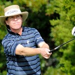 Briny Baird hits a drive off the seventh tee during the first round of the McGladrey Classic on Thursday.