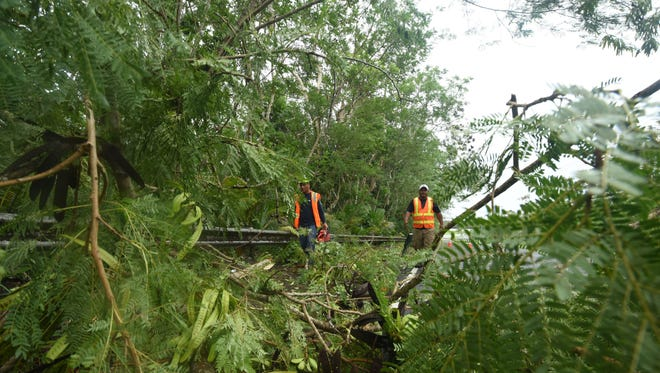 Piti Mayor Office employees, Paul G., left, and Ruben Renta, prepare to clear away vegetation and other debris from Spruance Drive after the passage of Tropical Storm Maria on Thursday, July 5, 2018.