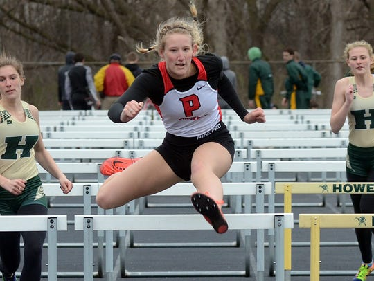 Pinckney's Savannah Soronen won the 100-meter hurdles