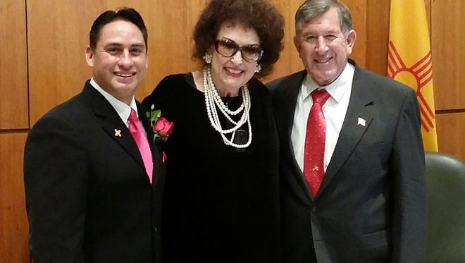 Sen. Howie Morales, Rep. Dianne Hamilton and Rep. John Zimmerman gather in Santa Fe on Tuesday, opening day of the 2016 NM State Legislature.