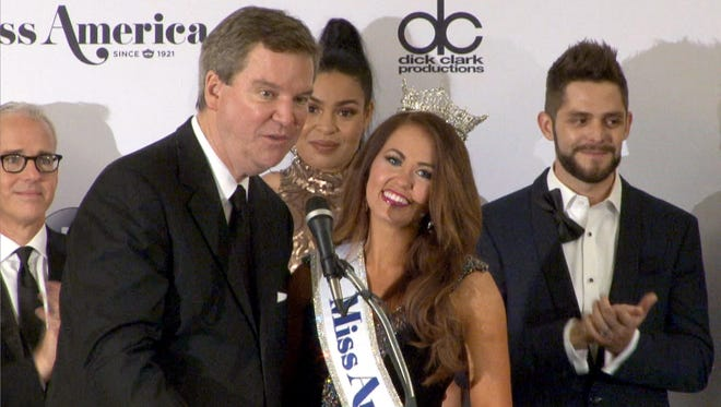 Miss America chief executive officer Sam Haskell is shown with Miss America 2018 Cara Mund, on Sept. 10, 2017, after the pageant held in Atlantic City.